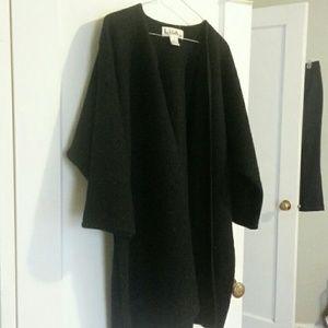Boiled wool cocoon cardigan coat coatigan